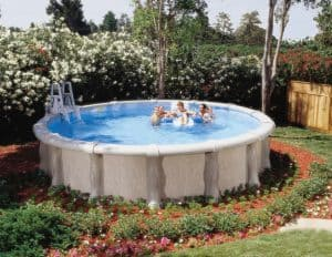 An above ground pool in Tulsa installed by Dolphin Pools