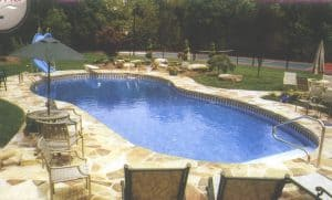 An in ground pool installed in Tulsa, Oklahoma